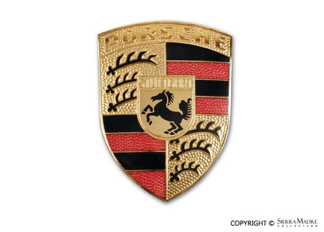 porsche parts hood emblem 911 boxster cayman 09 15. Black Bedroom Furniture Sets. Home Design Ideas